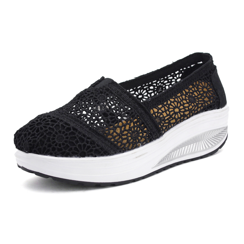 Ladies Casual Shoes Height Increasing Breathable Wedgess Women Boat Shoes Loafers Zapatos Mujer Walking Platform Shoes