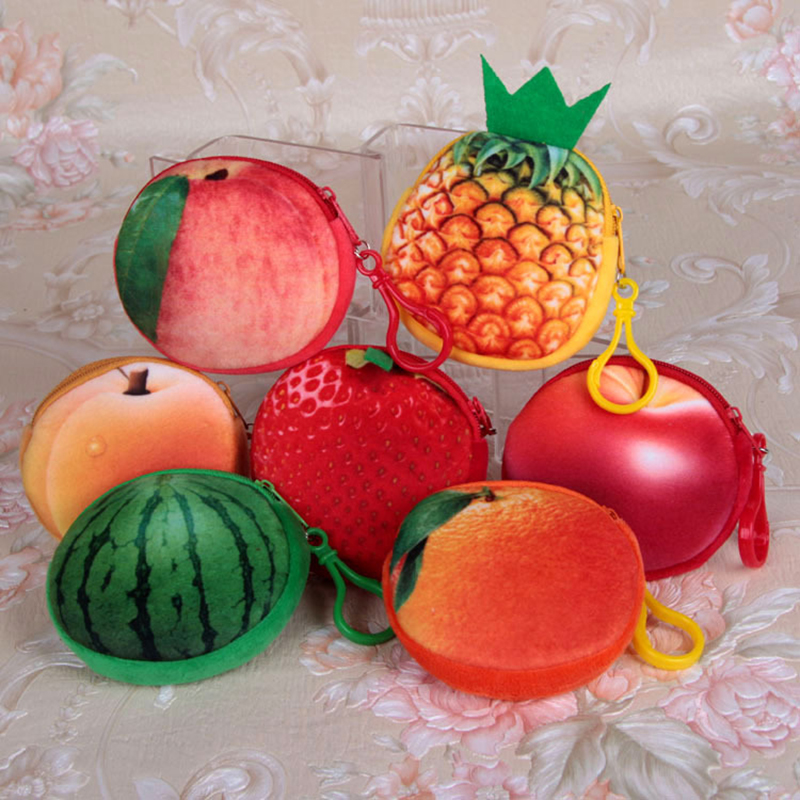3D Fruit Coin Purse Women Cartoon Coin Holders Children Zipper Money Bag Pouch Kids Small Wallets Coin Bank Case