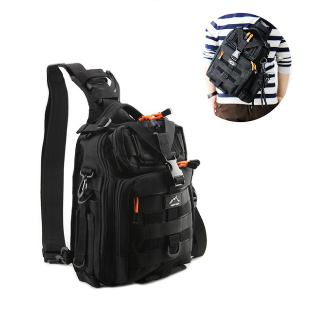 da658f6e0a Hetto Waterproof Fishing Tackle Bag pack Tactical Sling Shoulder Crossbody  Chest Nylon Bag Pack with Water Bottle Holder