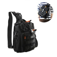Hetto Waterproof Fishing Tackle Bag pack Tactical Sling Shoulder Crossbody Chest Nylon Bag Pack with Water Bottle Holder