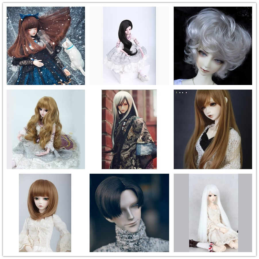 цена на Allaosify doll accessories 1/3 1/4 Bjd wig doll hair wig little demon long straight wig bangs cute girl and boy baby hair
