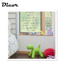 DICOR Colorful Stained Glass Decorative Stickers Cartoon Letter ABC Window Films For Kids Rooms No Glue Removable BLT154