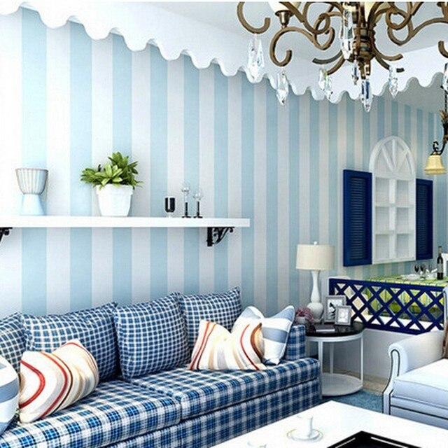 Beibehang papier peint Chambre Confortable Vinyle Papier Peint Bleu Bande Blanche Mur papier ...