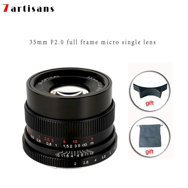 7 artisans 35mm f2.0 Premier Objectif à Tous Unique Série pour E-montage FX-Caméras à monture A7 a7II A7R A7RII A7S A6500 X-A10 X-A2 X-A3