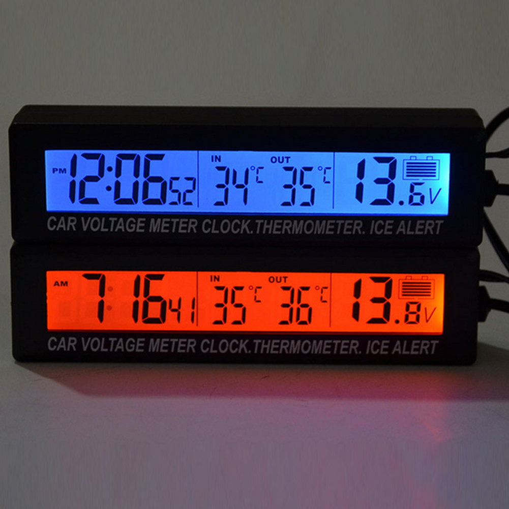 3 in 1 Digital LCD Clock Car Thermometer Battery Voltage Monitor Auto Thermometer Voltmeter Temperature Gaugge 12V/24V 3in1 car auto digital led thermometer usb charger cigarette voltmeter 12v 24v 3color g205m best quality