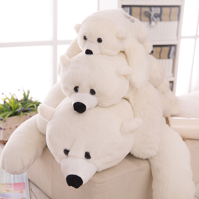 Dorimytrader Pop Lovely Lying Animal Polar Bear Plush Toy Big