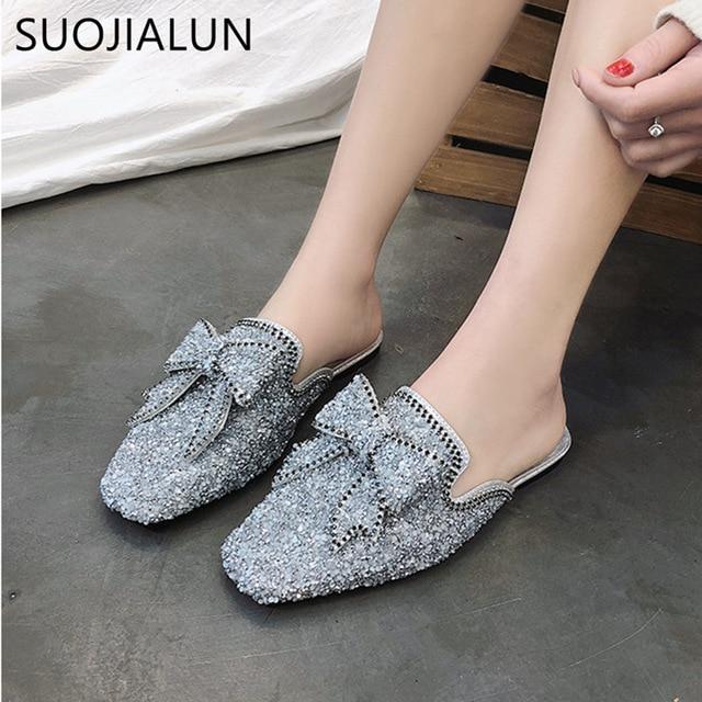 Women Slipper PU Leather Mules Slides Rhinestone Crystal Shoes Sandals Slip On