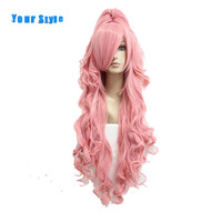 Your Style Long Wavy Pink Ponytails Cosplay Hair Wigs Women With One Pigtails Synthetic Fake Hair