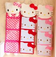 Free Shipping Kawaii Pink Red Bow Hello Kitty Plush Long Slung Storage Bag Wall Hanging Bags