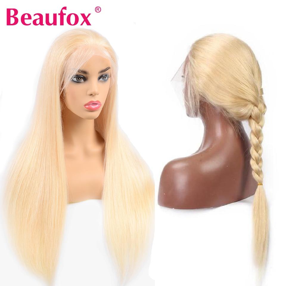 Beaufox 613 תחרה מול הודי ישר שיער טבעי פאות לנשים שחורות מראש קטף טבעי קו שיער 150% רמי 613 בלונדינית פאה