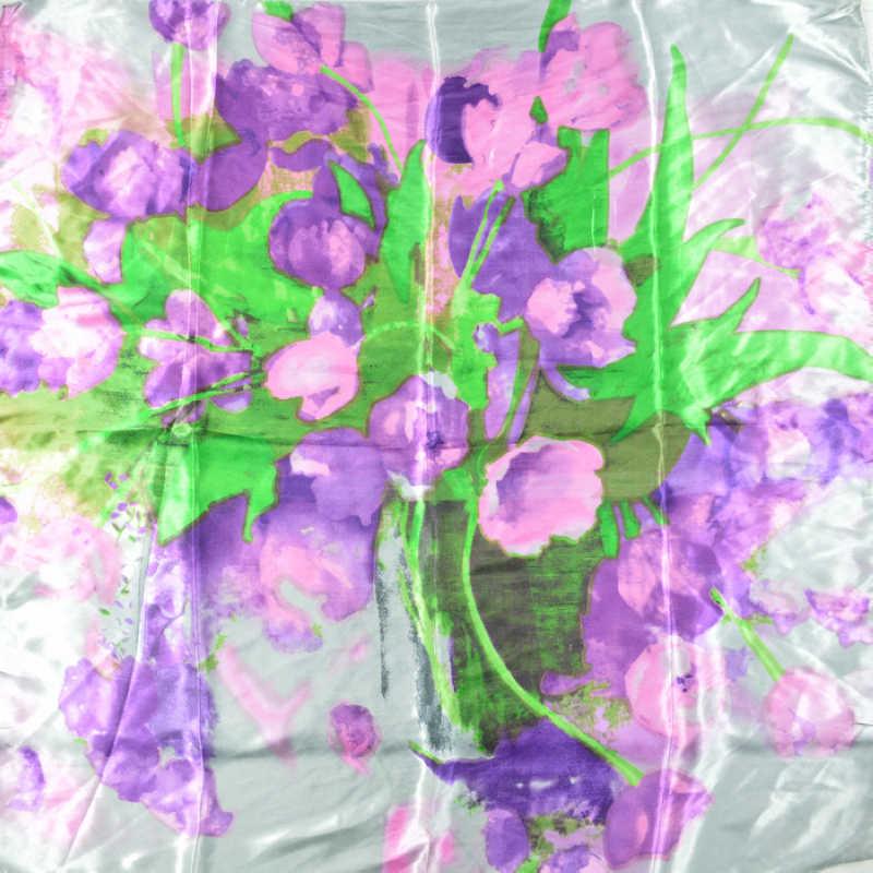 [BYSIFA] 90*90cm di Modo Viola Grigio Poliestere Sciarpa di Seta Hijab Stampato Per Wome Nuove Donne di Stile piazza grande Di Seta Dello Scialle Della Sciarpa