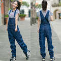 Free Shipping 2016 New Fashion Denim Bib Pants Loose Denim Spaghetti Strap Pants Straight Plus Size 26-42 Overalls And Jumpsuits