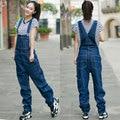 Free Shipping 2016 New Fashion Denim Bib Pants Loose Denim Spaghetti Strap Pants Straight Plus Size 26-42 Overalls And Jumpsuits