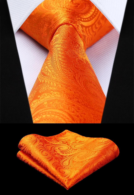 Party Wedding Classic Pocket Square Tie Woven Men Tie Orange Paisley Necktie Handkerchief Set# TP942N8S
