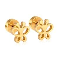4a5c22835 Cute Style Butterfly Screw Stud Earrings Baby/Girl/Women Jewelry Gift  Stainless Steel Gold