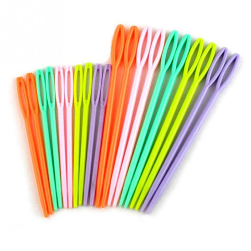 New Good Quality 1Set(12PCs) Plastic Knitting Needles Seam Sewing Tool Needlework Needle Arts & Crafts DIY 7cm 9cm Mixed