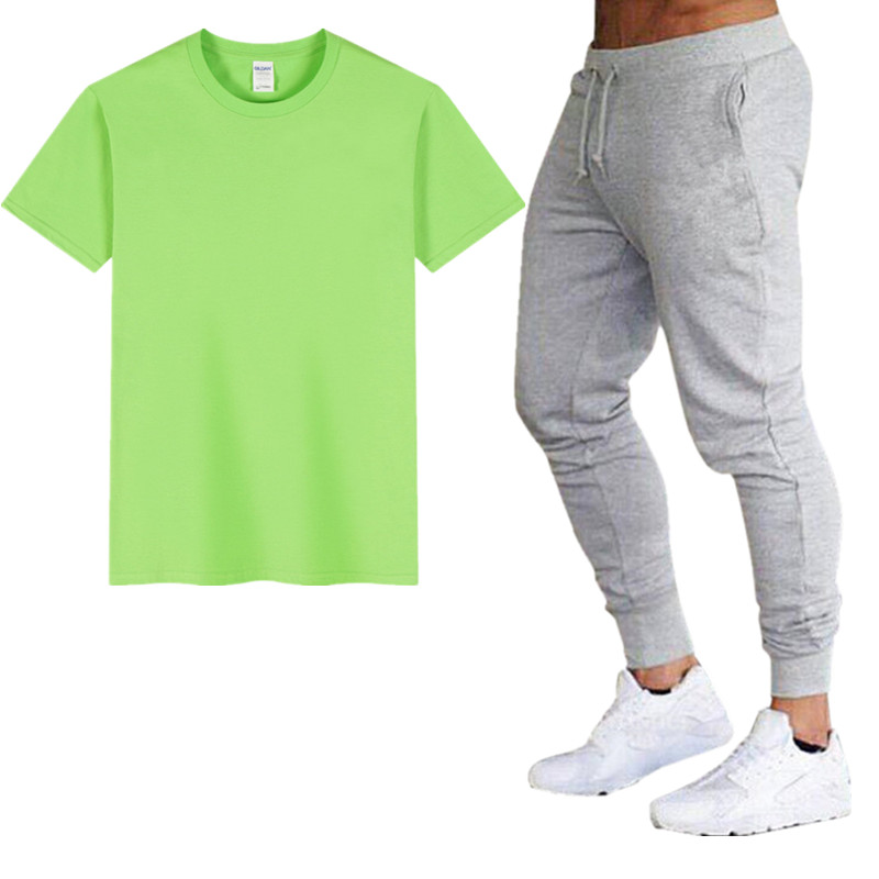 2019 Brand Hot Sale Casual Suit Men Summer Lovers Sports Cotton T-shirt + Pants Two Sets Of Fashion