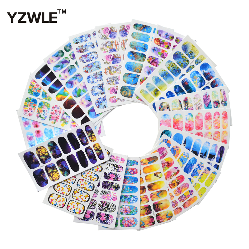 YZWLE 20 Sheets Full Wraps Decals Nails Art Water Transfer Printing Stickers Accessories For Manicure Salon yzwle 30 sheets diy decals nails art water transfer printing stickers accessories for nails