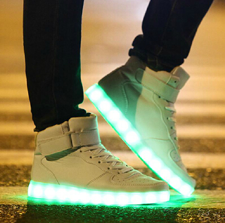 Men High Top LED Luminous Shoes White Casual Brand Super color Growing  Sneaker Women USB Charging Light Up Platform Shoes 589c383af
