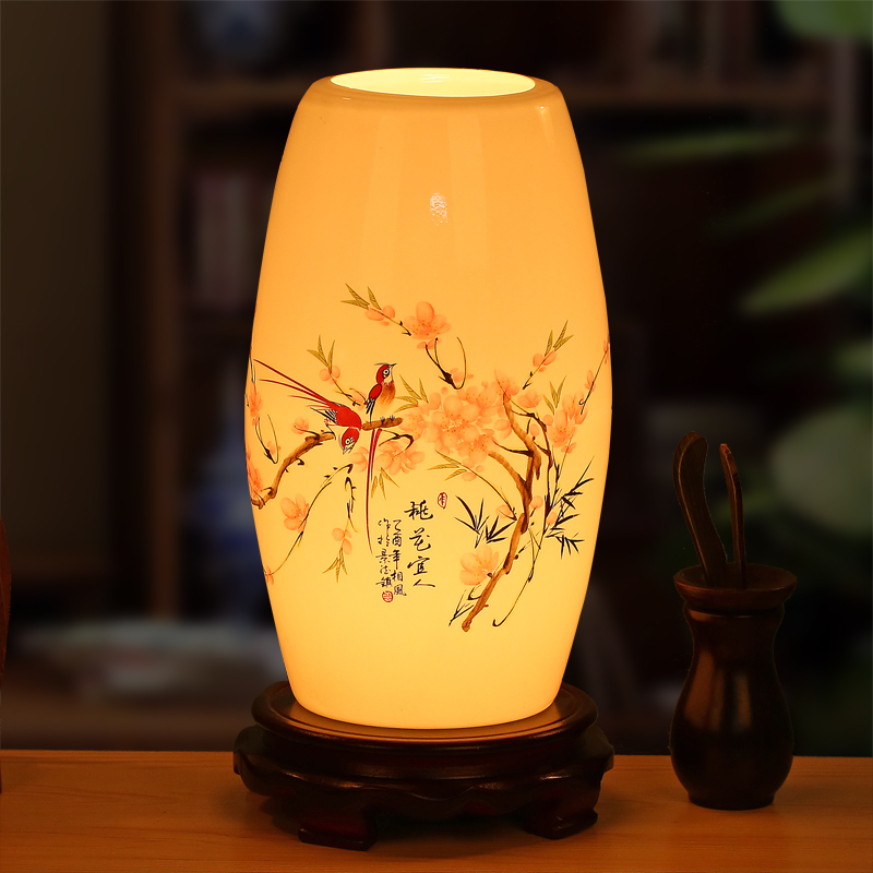 new ceramic Chinese style retro table lamp bedroom bedside lamp living room study decorative LED table light ZA1127403 artpad emerald green bank lamp antique chinese light red solid base classic table lamps for study living room bedroom decorative