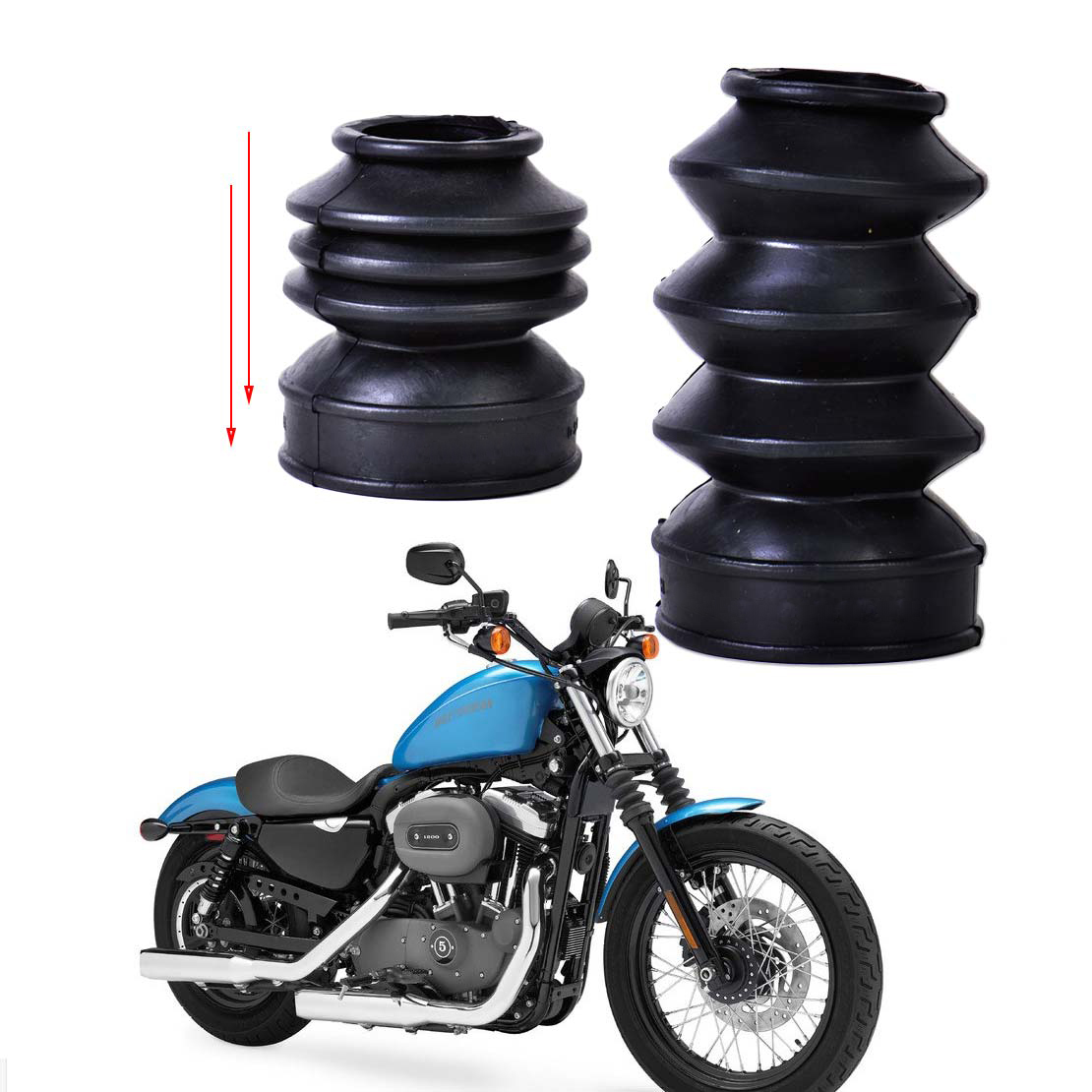 beler New 2Pcs Black Front Rubber Fork Dirt Cover Gaiter Gator Boot Cap Shock Fits For Motorcycle Harley Sportster Dyna FX XL883 motorcycle chrome front spoiler chin fairing for harley sportster xl883 1200 04 15 new
