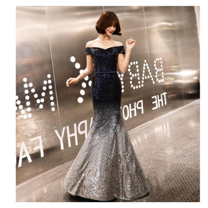 It's YiiYa Robe De Soiree Sequine Mermaid Women Party Dress Off Shoulder V-neck Lace Up Long Evening Dress Plus Size 2019 E487