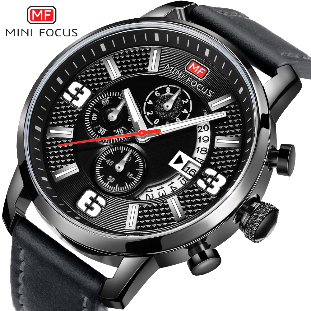 MINI FOCUS Brand Luxury Chronograph Men Sports Watches Men Quartz Analog Date Clock Male Army Military Leather Strap Wrist Watch voodoo ii shark army auto date black silicone strap military wristwatch sports clock men military quartz wrist watches saw177