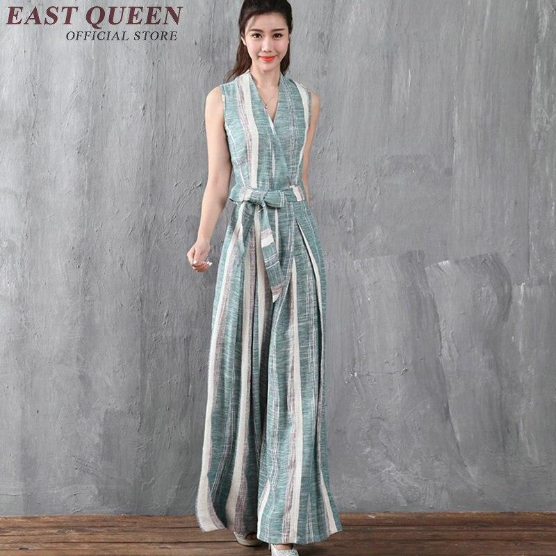 women summer jumpsuit 2017 sleeveless office uniform designs women striped long wide leg jumpsuit women elegant NN0661 YQ