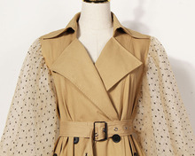 Spring Lapel Long Puff Sleeve Sashes Dot Mesh Stitching Loose Long Windbreaker Women Coat Fashion