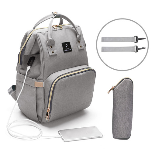Maternity Bags USB Interface Baby Diaper Bag with 2 Stroller Hooks Waterproof Mommy Bag Large Capacity Nappy Bag Travel Backpack