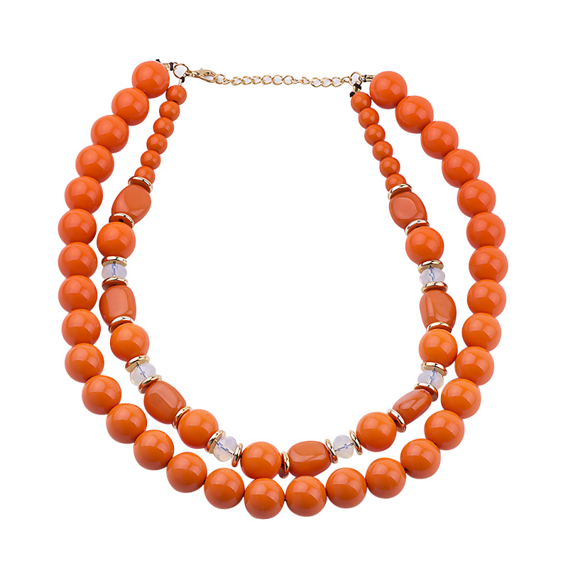 GuanLong Two Layer Round Resin Beads Strand Necklaces For Women 2017 Winner Sweater Accessories Jewelry image