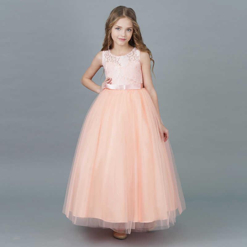 595aeef01dff Children 2018 Elegant Princess Formal Dress Kids School Evening Prom Party  Pageant Little Bridesmaid Flower Girl
