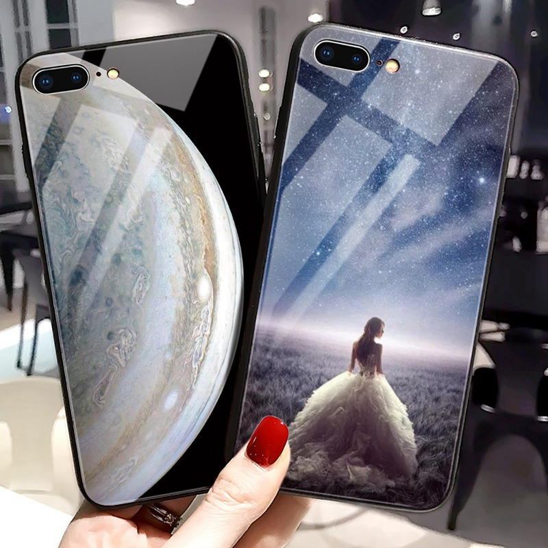 TOMKAS Luxury Space Cover Case for iPhone X Xs Max Xr Xs Glass Silicone Phone Case for iPhone 7 8 Plus Cases for iPhone 6 S 6s (27)