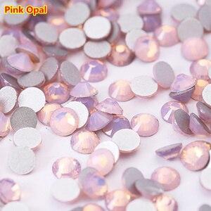 Ss3-ss30 (1,2 мм-6 мм) розовый опал без горячей фиксации Стразы для ногтей, 1440 шт./Лот, плоская задняя часть клей для искусства ногтя на кристаллах