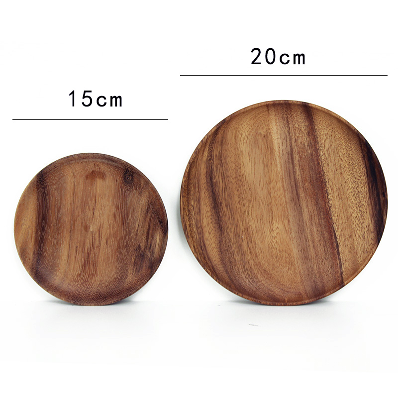 2pcs Round Wooden Plates Set High Quality Acacia Wood Cake Dishes Dessert Serving Tray Wood Sushi Plate Tableware Dinnerware (1)