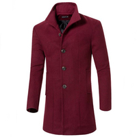 Autumn and winter mens coat wool coat medium and long section mens single breasted coats men's jacket wool & blends casual mens