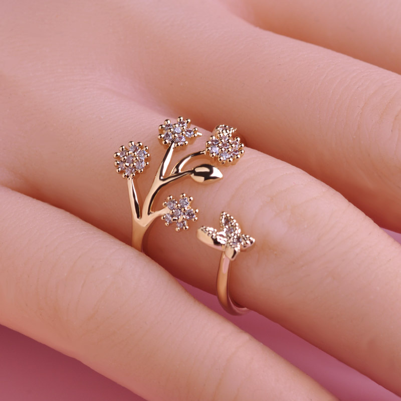 Luxury Copper Wedding Rings Butterfly Flower Couple Ring Design