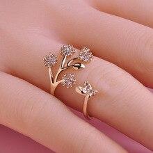 Luxury Wedding Rings Butterfly Flower Simulated Diamond Women