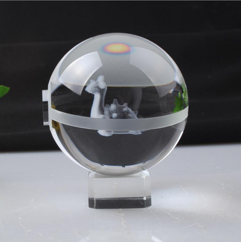Pokemon Engraving Lapras Round Crystal Nice Fashion Ball With Base With Gift Box