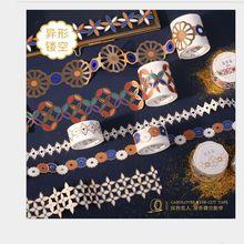 Синтетическая бумага в форме золотого цвета, с вырезами, с цветочным принтом в винтажном стиле наклейка лента для декорации Washi DIY планировщик дневник изоляционная лента