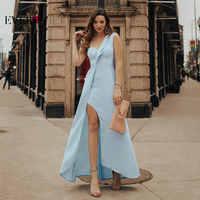 2019 新エレガントなイブニングドレスエヴァープリティドレス EP07179 女性新セクシーなブルー床長さの恋人ワンショルダーイブニングパーティーガウン
