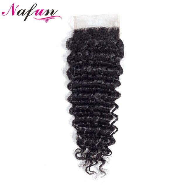 Pelo NAFUN onda profunda peruano 4*4 Cierre de encaje Cierre de cabello humano medio/gratis/encaje de tres partes no Remy del pelo del Color Natural