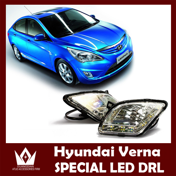 Night lord  For Hyundai Verna DRL 2010-2013 LED daylight car Daytime running light with Aluminum rear cover Free shipping car led drl daytime running light for accent 2010 2013 wireless control
