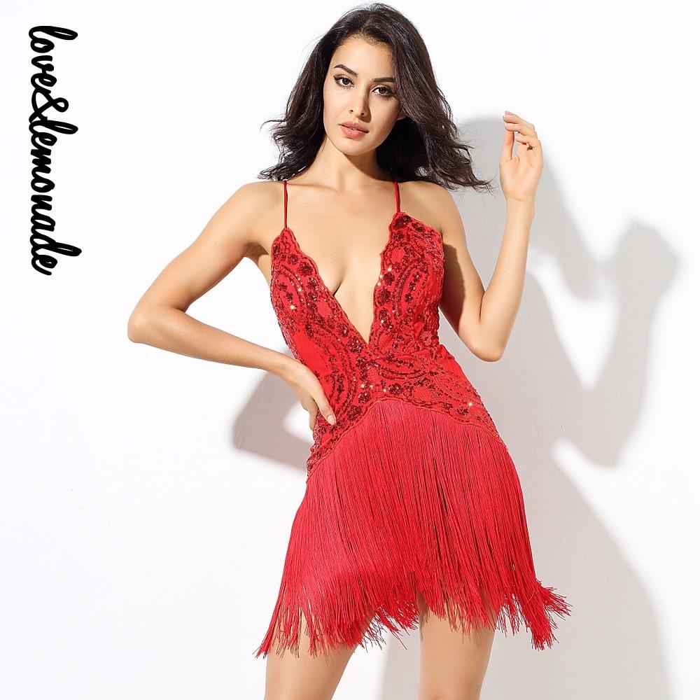Love Lemonade Red Flower Vines Sequined V Collar Exposed Tassel Party Dress LM0232
