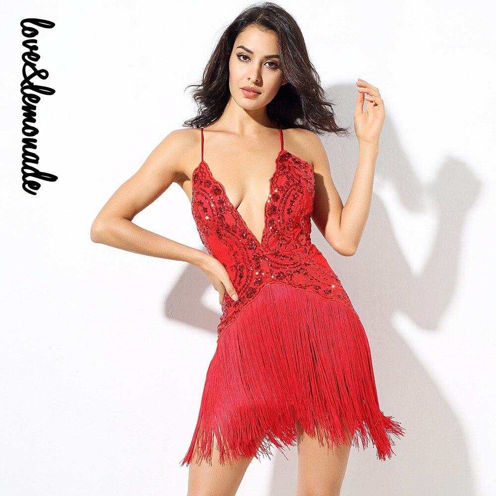 Love Lemonade Red Flower Vines Sequined V Collar Exposed Tassel Party Dress  LM0232 33d631455bc3