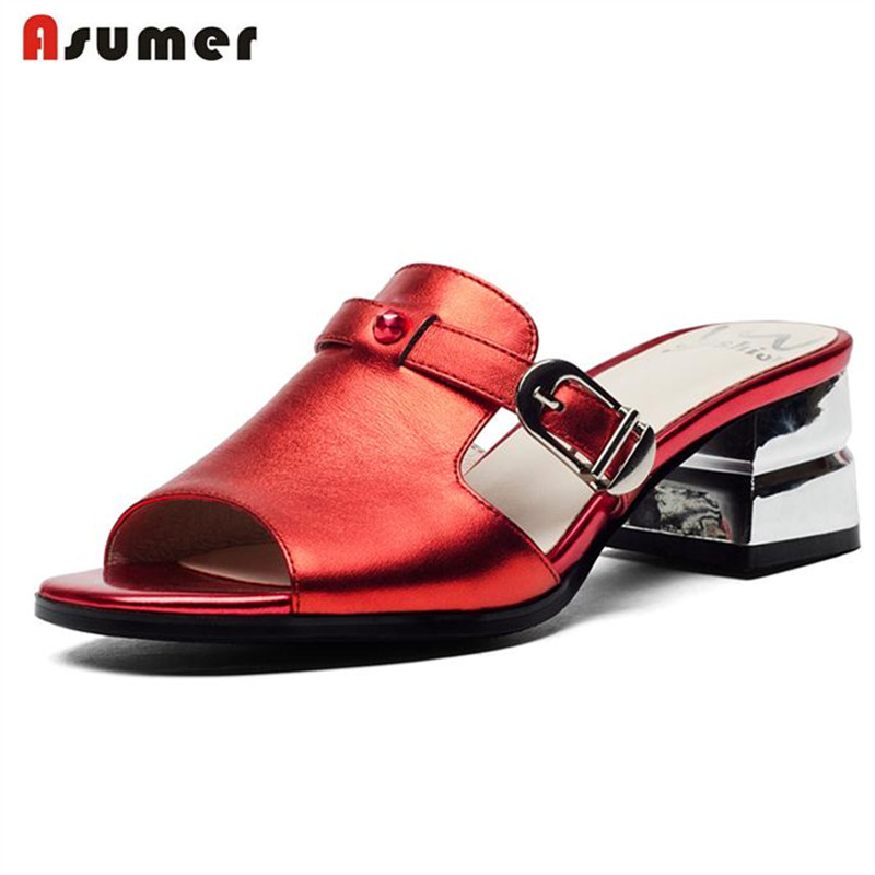 ASUMER 2018 new arrive sandals women shoes elegant solid buckle slip on med heel genuine leather sandals summer lady dress shoes fujin brand 2018 summer shoes for women platform sandals with high heel lady leather shoes footwear pink leather slip on sandals