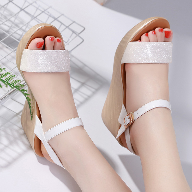0bb19e59d Plus Size Platform Sandals Woman Summer 2019 Elegant Bling Wedge Heels  Sandals Ladies Beach Wedges Shoes for Women 41 42 43-in High Heels from  Shoes on ...