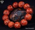 Fashion Red Sandalwood 15mm Lotus Beaded Bracelet
