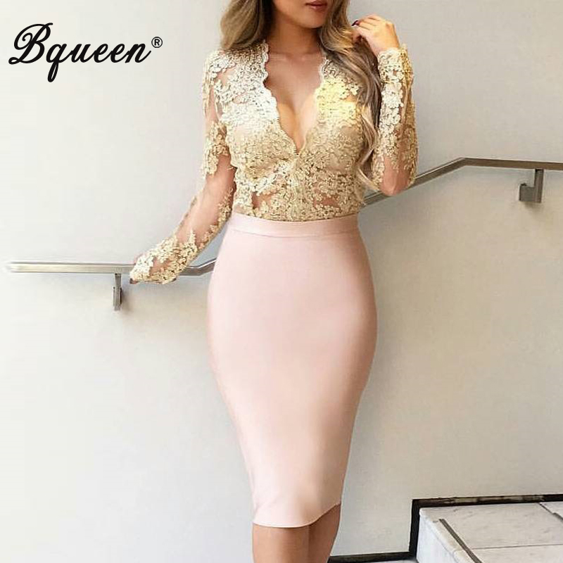 Bqueen 2019 New Women's Bandage Skirt Summer Fashion Knee-length Solid Color Slim Bodycon Skirt Wear To Work Fashion Hot