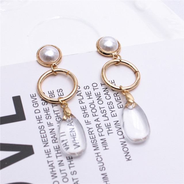 Transparent water drop long earrings 1